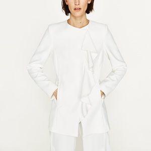NWT Zara White Ruffled Crossover Coat with Frill